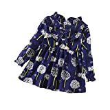 HOT! HOT! 0-5 Years Old, New Toddler Baby Girls Long Sleeve Floral Flower Print Dress Outfits Clothes (Navy, Age:12-18M)