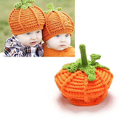 Baby Boy Girls 2017 Halloween Pumpkin Cute Warm Knit Bear Hat Toddler Kid Winter Crochet Beanie Cap (Tv Halloween Shows 2017)