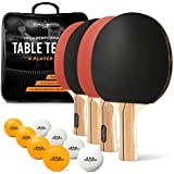 Ping Pong Paddle Set - Includes 4 Premium Paddles/Rackets, 8 Pro Training Balls, and Black Storage Case - Professional Table Tennis Set of 4