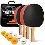 PRO SPIN Ping Pong Paddle Set - 4 High-Performance Paddles/Rackets, 8 Pro Table Tennis Balls, Premium Storage Case | Professional Table Tennis Set for All Levels | Indoor & Outdoor Games (4-Player Set)