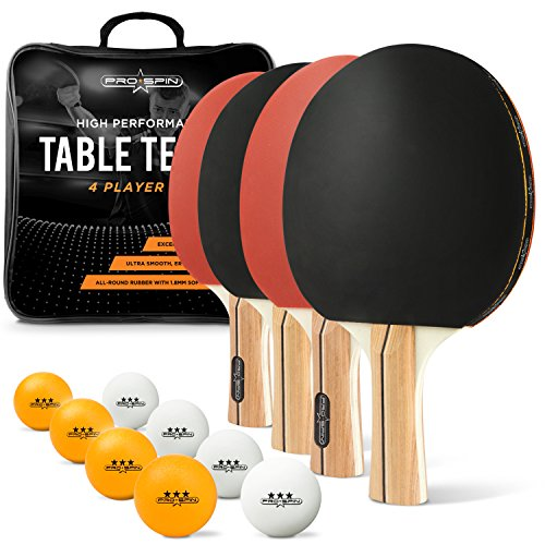 Set Stiga Table Tennis Accessories - PRO SPIN Ping Pong Paddle Set - 4 Performance Paddles/Rackets, 8 Ping Pong Balls (3-Star), Premium Storage Case - for Indoor & Outdoor Tables & Games