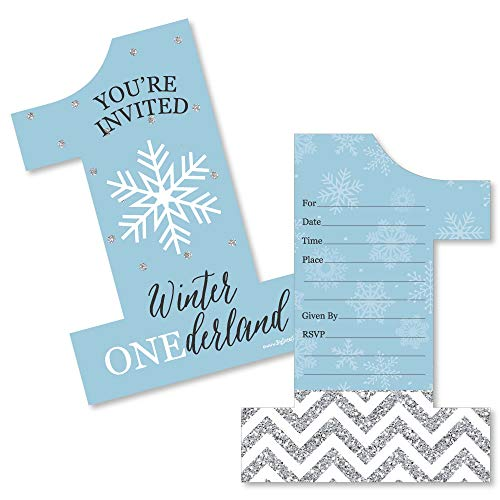 Onederland - Shaped Fill-in Invitations - Holiday Snowflake Winter Wonderland Birthday Party Invitation Cards with Envelopes - Set of 12 -