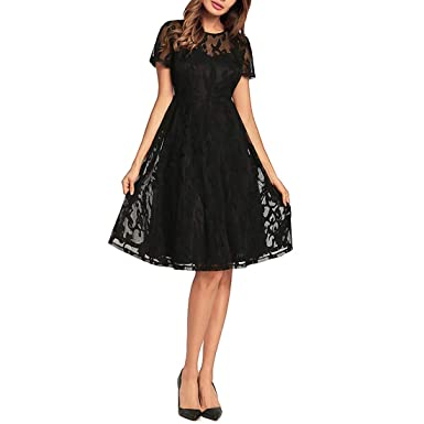 4bf5f1a5c5a YUKILO 2018 Spring and Summer New European and American Women Short-Sleeved  Pleated Skirt Cut Sexy lace Dress at Amazon Women s Clothing store