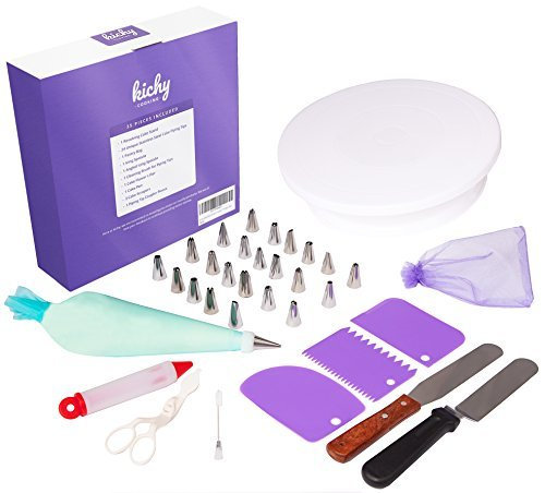 Cake Decorating Supplies with Turntable Stand 35pc -