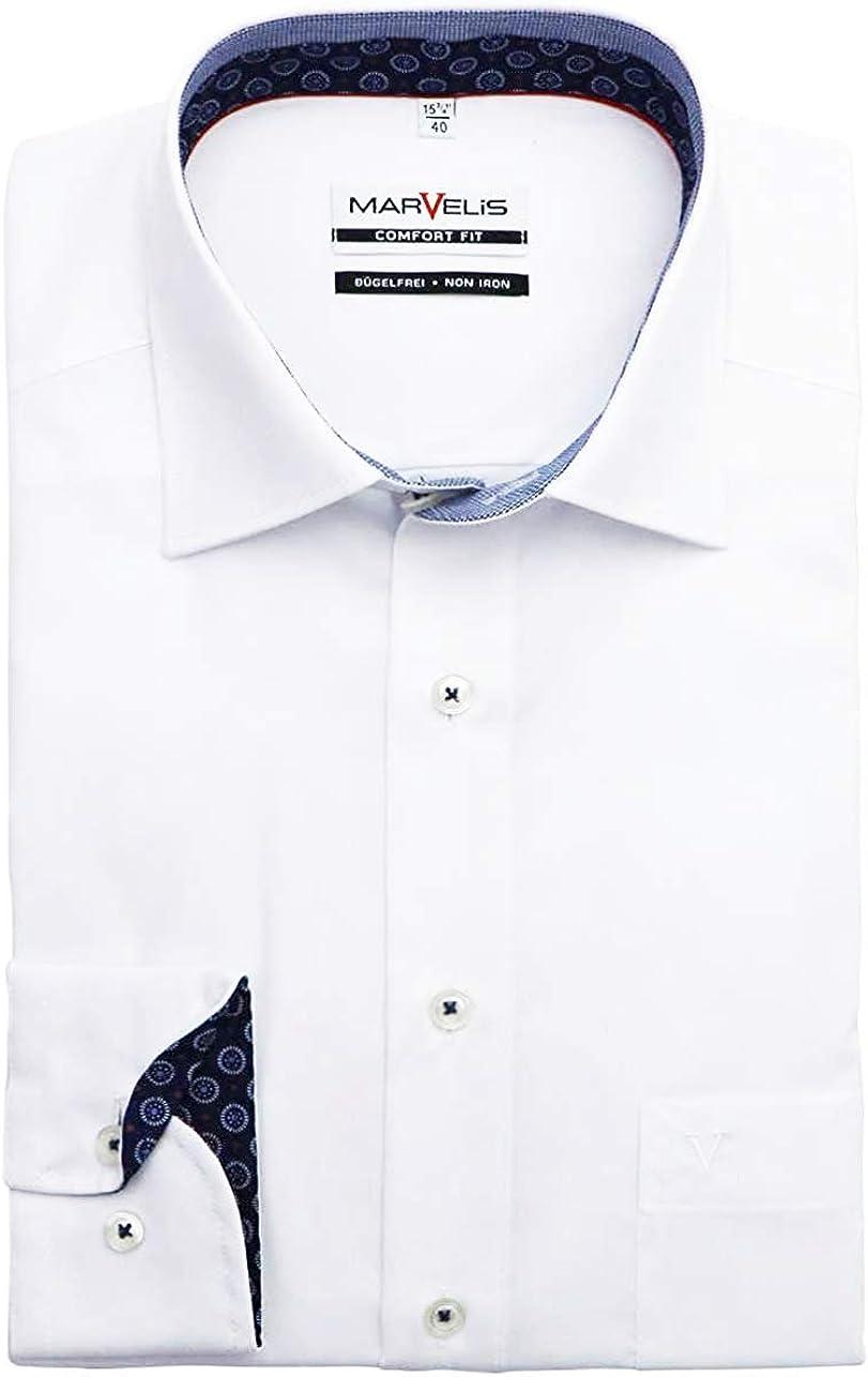 Marvelis Comfort Fit - Camisa de Manga Larga con Cuello Blanco: Amazon.es: Ropa y accesorios