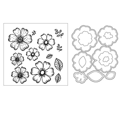 (ShapeW Daisy Flowers Metal Cutting Dies Stamp Stencils DIY Scrapbooking Photo Album Decor Cards (Clear Stamp+Dies Cutting))