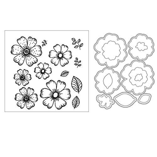 ShapeW Daisy Flowers Metal Cutting Dies Stamp Stencils DIY Scrapbooking Photo Album Decor Cards (Clear Stamp+Dies ()
