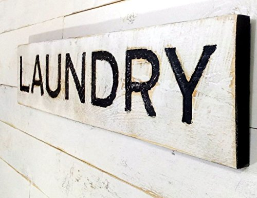 Laundry Sign - Carved in a Cypress Board Rustic Distressed S