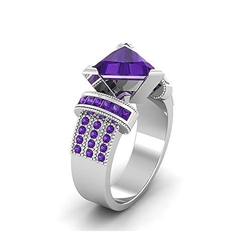 Mejor compromiso anillos de boda en 3,20 ct morado circonitas cúbicas billones Cut Crystal