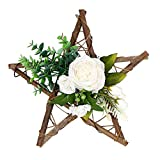 Beyonds Rustic Wall Decor, Silk Flowers Wooden Hanging Hooks, Hemp Rope, Home Kitchen Patio Garden Hanging Decoration