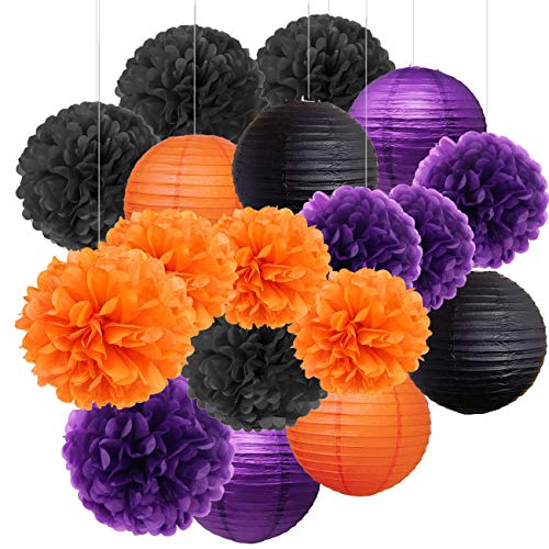 Sorive Halloween Decoration Kit Hanging Paper Lantern Tissue pom poms, Black, Orange, Purple, 18-Pack, For Halloween Classroom Home Office Dorm Room Party Birthday Event -