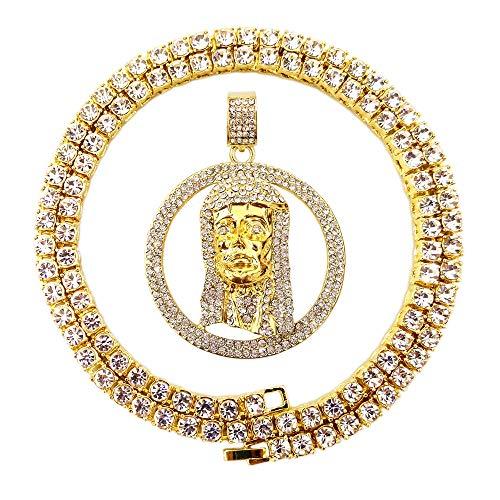 - HH Bling Empire Mens Hip Hop Iced Out 14K Gold Artificial Diamond Jesus Piece Pendant cz Tennis Chain Necklace (Jesus B)