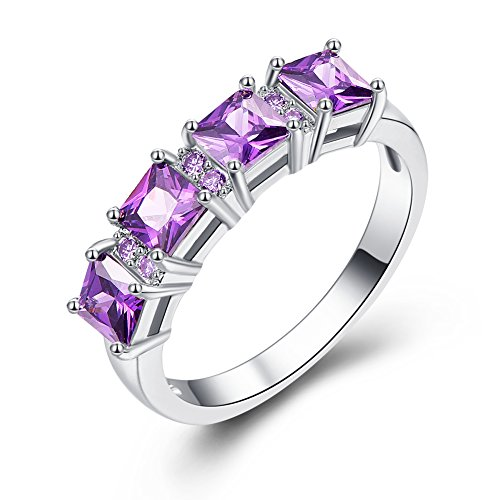 Veunora 925 Sterling Silver Created 4x4mm Princess Cut Amethyst Filled Brilliant Band Ring for Women Size 8 ()