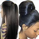 Premier Wigs Light Yaki Straight Full Lace Human Hair Wigs Brazilian Hair Wigs 130 Density For Black Women with baby Hair Regular Yaki Human Hair Full Lace Wigs (16