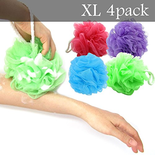 Price comparison product image XL Bath Pouf Large Mesh Shower Sponge Set of 4 Pack 70gr, Exfoliating Cleanse Soothe Skin Loofah Luffa Body pouf Mesh Exfoliate Skin Lofah Body Scrubber Soft Bath Pouf Bulk Men Women