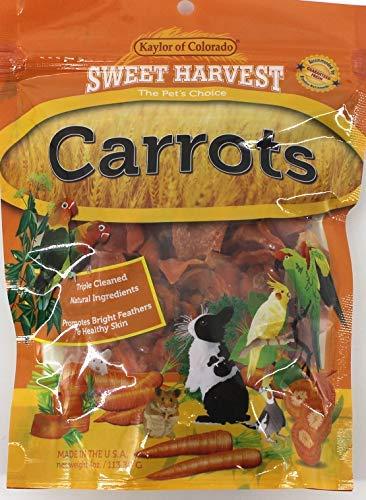 - Sweet Harvest Carrots Treat, 4.0 Oz Bag - Real Carrots for Birds and Small Animals - Rabbits, Hamsters, Guinea Pigs, Mice, Gerbils, Rats, Cockatiels, Parrots, Macaws, Conures