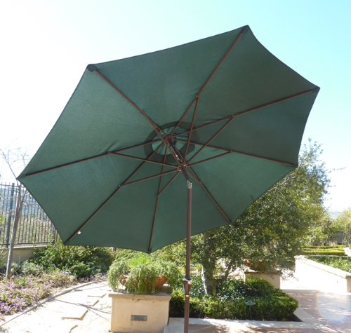 Formosa Covers 9ft aluminum market umbrella crank & tilt color Hunter Green - 9ft aluminum market umbrella in Hunter Green Aluminum frame with Powder coated Bronze finish Crank & Tilt function for easy open and close - shades-parasols, patio-furniture, patio - 51Yghy%2Bk7gL -
