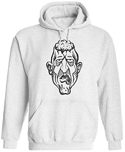 Austin Ink Apparel Unisex Mens Cartoon Halloween Zombie Pullover Hooded Sweatshirt (White, 3XL) ()