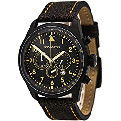 Szanto Men's SZ 2252 2250 Series Classic Vintage-Inspired Stainless Steel Watch with Leather Band