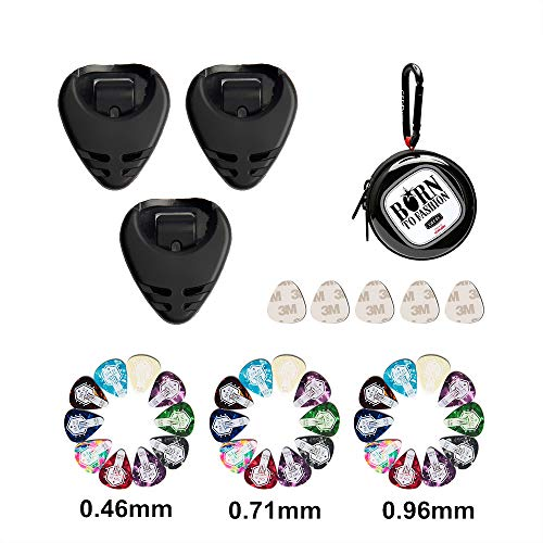 GEE·D Guitar Pick Holder Sticker Case, 30pcs Guitar Picks Variety Pack Included/Thin/Medium/Heavy Gauge 0.46 0.71 0.96 mm, Picks Holder Case Stick on Electric Guitars Bass Ukulele