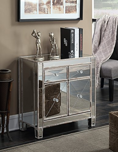 Convenience Concepts Gold Coast Vineyard 2-Drawer Mirrored Cabinet, Weathered White