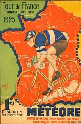 Vintage Cycling Poster Reprints 1925 Tour de France Poster ...