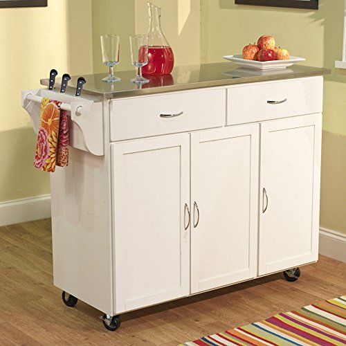 Berkley Modern Large Kitchen Island Storage Cart with Stainless Steel Countertop Wood Cabinet, White, Home Kitchen Furniture