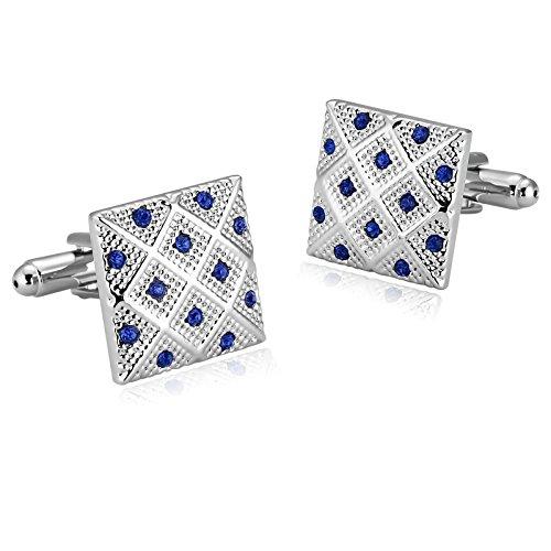 - KnSam Stainless Steel Silver Blue Square Lattice Pierced Crystal Cufflinks for Mens Shirt Stud