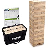 Giant Tumbling Timber Toy - Jumbo JR. Wooden Blocks Floor Game for Kids and Adults, 56 Pieces, Premium Pine Wood, Carry Bag - Grows to Over 4-feet While Playing, Life Size