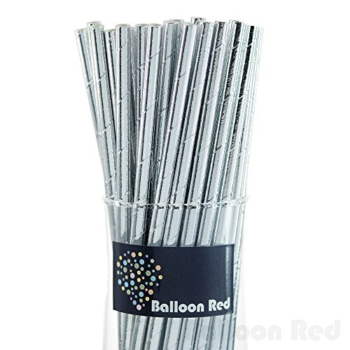 Silver Sticks 2009 (Biodegradable Paper Drinking Straws (Premium Quality), Pack of 50, Solid - Metallic Glossy Silver)