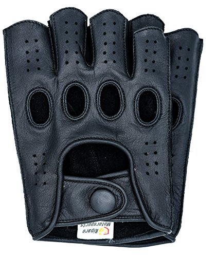 Riparo Mens Genuine Leather Reverse Stitched Fingerless Half-Finger Driving Motorcycle Gloves (X-Large, Black)