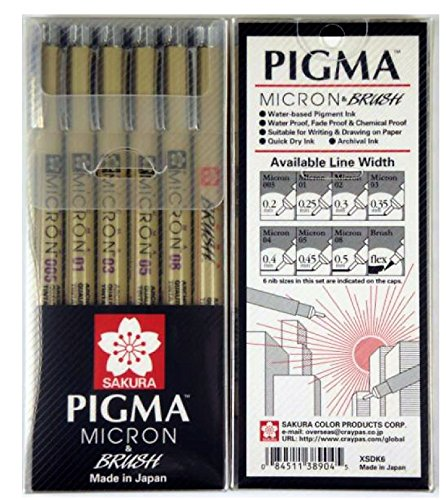 (Sakura Pigma Micron drawing pen set, Archival ink black fineliner manga pen, Assorted nibs sizes fine point (005, 01, 03, 05, 08, brush tip))