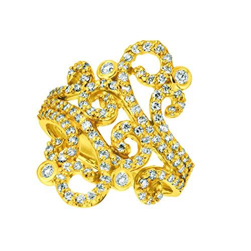 14K Yellow Gold Freeform Diamond Ring - 1ctw. Diamond