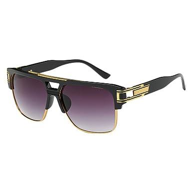 Zhhlinyuan Durable Square Semi Sans Monture UV400 Mens Womens Sunglasses Classique Nuances Plein éblouissement Eye Protect Unisexe Des Lunettes de Soleil nlUyVrE