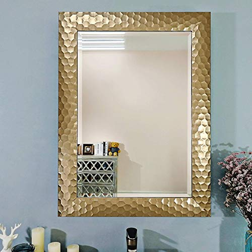 Large Rectangular Wall Mirror with Gold Honeycomb Frame Design/Premium Silver Beveled 1-Inch Rectangle Mirrors for Vanity, Living Room or Bathroom for Decor/Hang Horizontal or Vertical 24 x 32-Inch (Frame Mirrors Gold)
