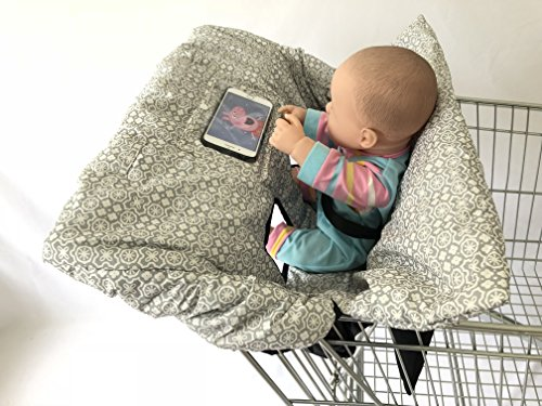 SEALOVESFLOWER Waterproof Gray 2-in-1 Baby Shopping Cart Cover & High Chair Covers with Safety Harness for Babies & Toddler (Grey) from SEALOVESFLOWER