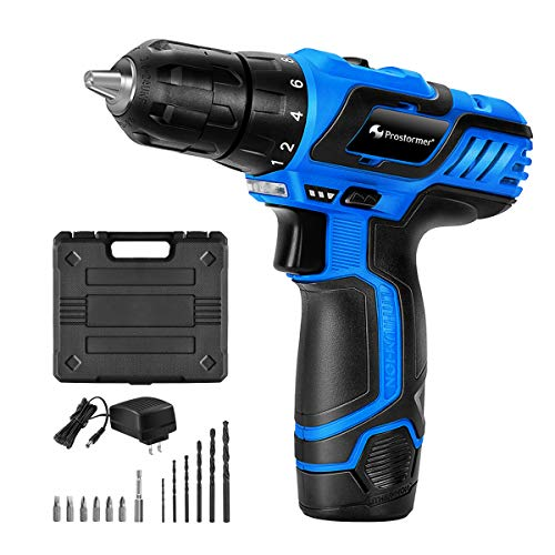 "12V Cordless Drill Driver Set, PROSTORMER 3/8"" Compact Drill Max Torque 247 In-lbs, 2-Speed, 18+1 Torque Setting, 2.0Ah Lithium-ion Battery and Quick Charger Included"