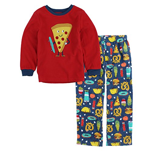 Carter's Boys 2-Piece Fleece Pajama Set (3T, Red/Pizza) ()