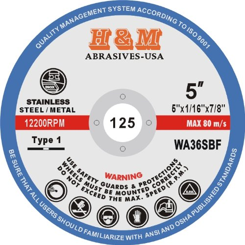 "5"" x 1/16"" x 7/8"" CUT-OFF WHEELS for Stainless Steel &.Metal Cutting Disc ( 50 PACK )"
