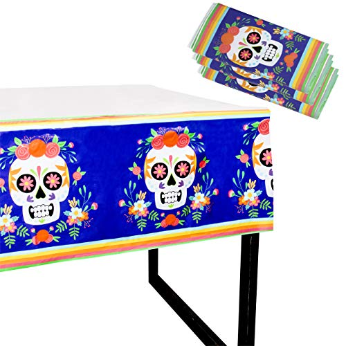 Juvale Day of The Dead Party Tablecloth - 3-Pack Disposable Plastic Rectangular Table Covers - Mexican Party Supplies, Dia De Los Muertos Skull Design, 54 x 108 Inches ()