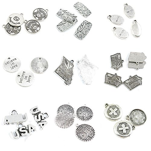 (32 Pieces Jewelry Making Charms Cross Tag Signs Life String Tree USA Iowa Map Tags Missouri Believe)