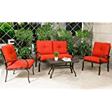 Genial Cloud Mountain 4 Piece Patio Furniture Set Outdoor Conversation Set  Cushioned Sofa Set Garden Love Seat