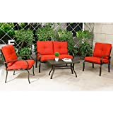 Cloud Mountain 4 Piece Patio Furniture Set Outdoor Conversation Set Cushioned Sofa Set Garden Love Seat Wrought Iron Coffee Table Loveseat Sofa 2 Chairs, Brick Red
