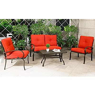 "Cloud Mountain 4 Piece Patio Furniture Set Outdoor Conversation Set Cushioned Sofa Set Garden Love Seat Wrought Iron Coffee Table Loveseat Sofa 2 Chairs, Brick Red - 【COMFORTABLE CUSHION】: This conversation set features durable Sponge (Interior) / Olefin fabric (Cover), which is strong and easy to clean. Seat cushion with tether to fix it from being blown. Cushion with 6"" thickness gives you the best experience than others. 【ARTISTIC STRUCTURE DESIGN】: Our loveseat and single chair are designed with unique artistic of circle elements. It is not only for more modern and stylish for your garden, but also it can provide the maximum weight capacity to sit. Table with hollow-carved table can be easily clean and support much more items on it. Durable wrought iron frame for a long time use. 【HUMANIZATION ANTISKID FOOT】: Our loveseat with table set is attached with anti-skid rubber foot cushion, which can effectively protect you from sliding when you are sitting in chairs and. It is safer than others. - patio-furniture, patio, conversation-sets - 51YgkmYgYYL. SS400  -"