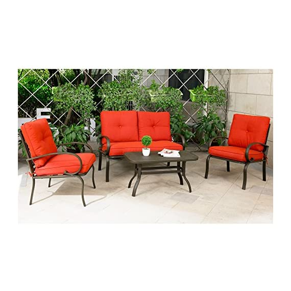 "Cloud Mountain 4 Piece Patio Furniture Set Outdoor Conversation Set Cushioned Sofa Set Garden Love Seat Wrought Iron Coffee Table Loveseat Sofa 2 Chairs, Brick Red - 【COMFORTABLE CUSHION】: This conversation set features durable Sponge (Interior) / Olefin fabric (Cover), which is strong and easy to clean. Seat cushion with tether to fix it from being blown. Cushion with 6"" thickness gives you the best experience than others. 【ARTISTIC STRUCTURE DESIGN】: Our loveseat and single chair are designed with unique artistic of circle elements. It is not only for more modern and stylish for your garden, but also it can provide the maximum weight capacity to sit. Table with hollow-carved table can be easily clean and support much more items on it. Durable wrought iron frame for a long time use. 【HUMANIZATION ANTISKID FOOT】: Our loveseat with table set is attached with anti-skid rubber foot cushion, which can effectively protect you from sliding when you are sitting in chairs and. It is safer than others. - patio-furniture, patio, conversation-sets - 51YgkmYgYYL. SS570  -"