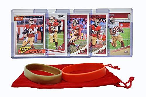 (San Francisco 49ers Cards: Jimmy Garoppolo, C.J. Beathard, Matt Breida, George Kittle, DeForest Buckner ASSORTED Football Trading Card and Wristbands Bundle)