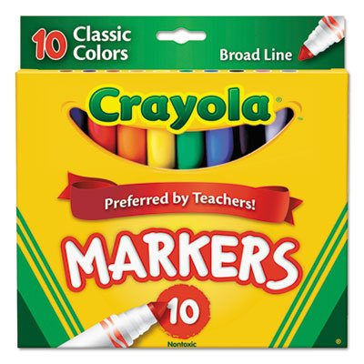Non-Washable Markers, Broad Point, Classic Colors, 10/Set: Office Products
