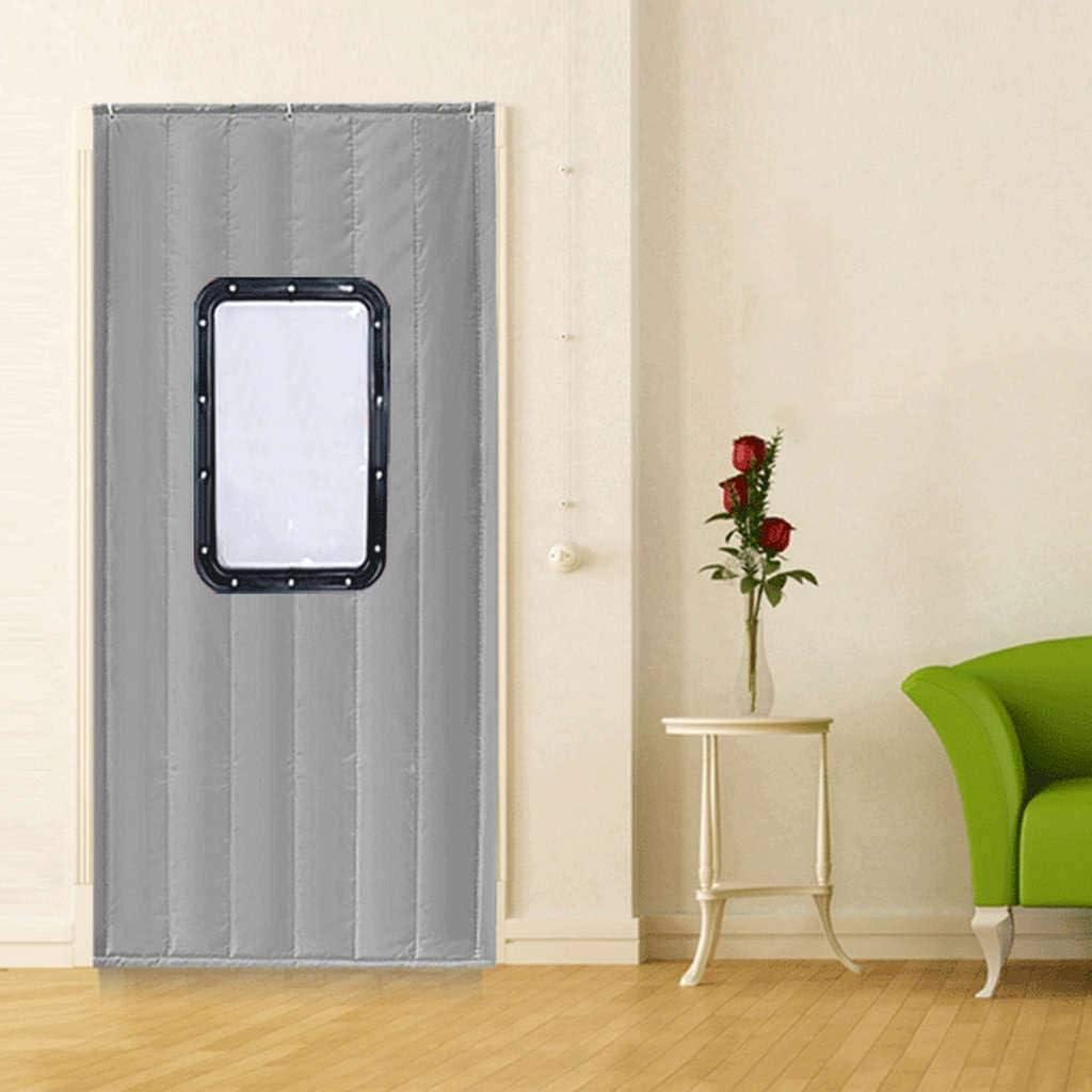 Cortina de puerta de algodón de invierno, Espesar Mantener caliente Aislamiento A prueba de viento Con ventana transparente Protección contra el frío Aislamiento acústico-150x240cm(59x94inch)-E: Amazon.es: Bricolaje y herramientas