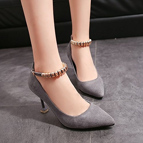Shoes Shallow Tip with grey High Are Buckle Heels Suede 5 EUR Word Beaded Single 35 Thin Mouth Fine YqHx4