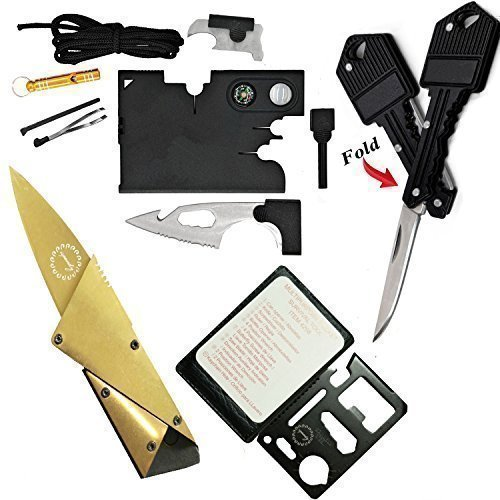 Credit Card Tool Wallet Tool Tactical Multitools with 18 in 1 Pocket Tool Survival Card Tool,Folding Card Knife Wallet Knife,11 in 1 Multitool Card,Key Knife Keychain Knife,4 Type/Set Tactical Gadgets (Butterfly Knife Keychain)